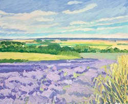 Waves of Purple Fields by Leila Barton - Original Painting, Canvas on Board sized 22x18 inches. Available from Whitewall Galleries